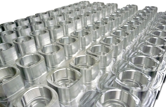 Salem 6 Slide 3 - Machined Tube Stock Adapters before anodizing for mka 1919